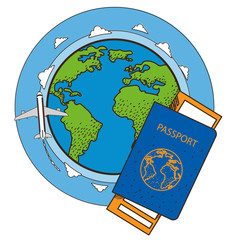 Passport, ticket, globe, plane. Resorts and tourism. Color illustration on the theme of travel.