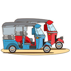 Vacation electric car. Illustrations on the theme of summer.