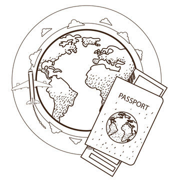 Passport, ticket, globe, plane. Resorts and tourism. Outline illustration on the theme of travel.
