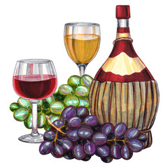 Wine set. Hand-drawn illustration of the wine bottle and wineglass