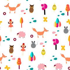 Autumn animals pattern seamless. Vector stock.