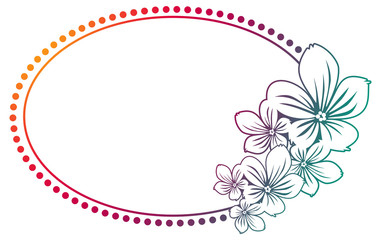 Abstract silhouette oval frame with gradient fill.