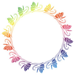 Gradient round frame with butterfly. Raster clip art.