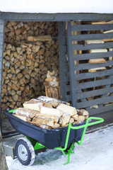 Firewood stacked in winter
