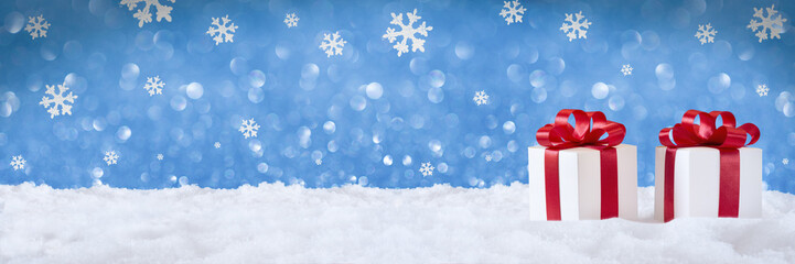 Gift Red bow on snow, banner