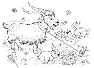 At the farm. Cute domestic animals. a funny goat looking at the rabbits eating carrots and cabbages. Illustration for children. Coloring book. Coloring page. Funny cartoon characters.