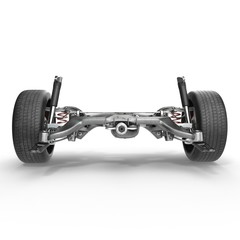 Shock Absorber and car suspension on white. 3D illustration