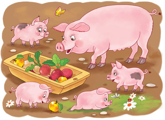 At the farm. Family of pigs. Cute mother pig and her babies. Illustration for children. Coloring book. Coloring pages. Funny cartoon characters.