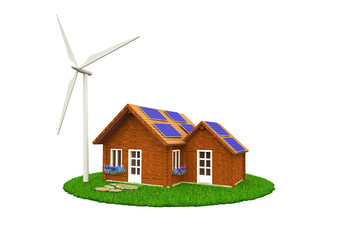 Green ecological house with windmills and solar panels isolated on white background