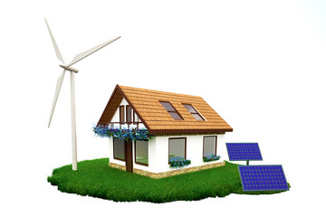 Ecological house with wind windmill and solar panels