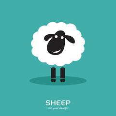 Vector image of a sheep design on bluel background, Farm Animals