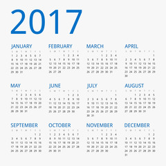 Modern vector calendar for year 2017