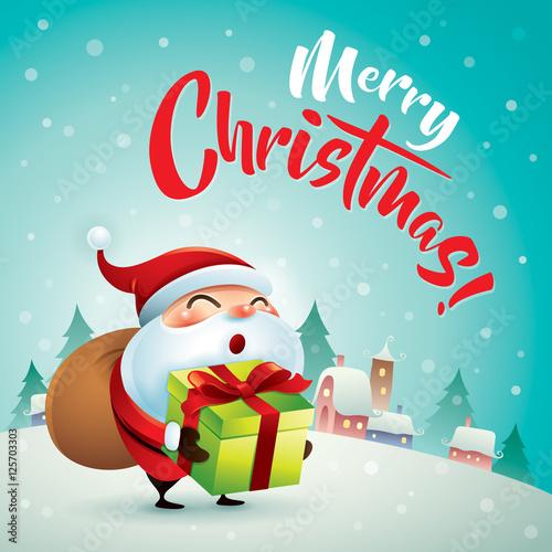 Merry christmas santa claus in christmas snow scene christmas santa claus in christmas snow scene christmas greeting card m4hsunfo