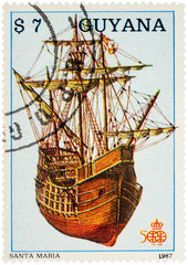 "Antique sailing ship ""Santa Maria"" of Christopher Columbus on po"