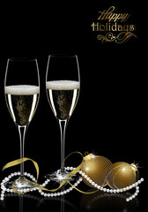 Merry Christmas with champagne .