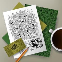 Cartoon doodles Tea corporate identity set