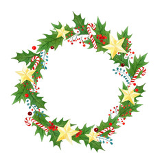 isolated Christmas wreath with branches, leaves, holly berries,candy canes,golden stars. seasonal design for greeting cards.