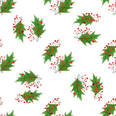 watercolor seamless pattern with hand draw Christmas and New Year elements.:holly berries and leaves.wrapping paper design.