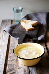 Chicken noodle soup in a rustic style