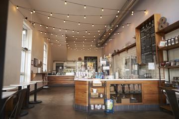 Fototapeta Empty cafe or bar interior, daytime obraz