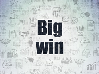 Business concept: Big Win on Digital Data Paper background