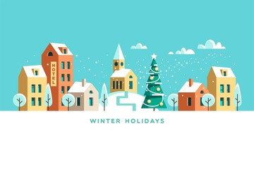 Printed roller blinds Turquoise Snowy street. Urban winter landscape. Christmas card Happy Holidays banner. Vector illustration flat design.