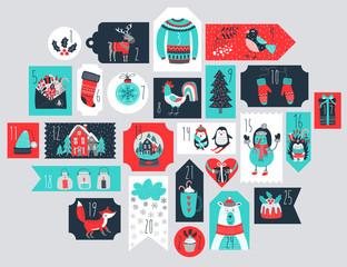 Wall Mural - Christmas advent calendar, hand drawn style.