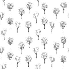grey winter trees seamless pattern