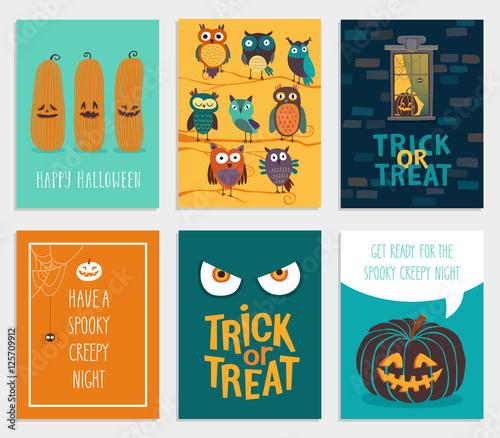 Wall mural Halloween Cards set.