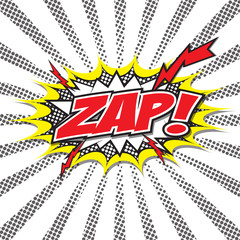 ZAP! wording sound effect set design for comic background, comic strip