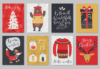 Wall Mural - Christmas card set, hand drawn style.