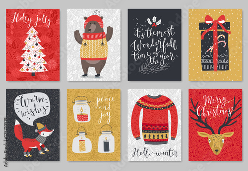 Wall mural Christmas card set, hand drawn style.