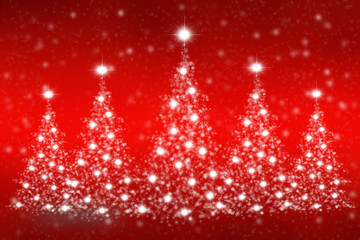 Christmas tree of snowflakes and sparkles on red background