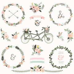 Vintage Floral Bicycles Elements