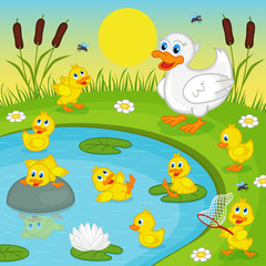 ducklings with mother duck playing in lake - vector illustration, eps