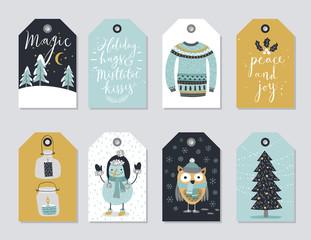 Wall Mural - Christmas tags set, hand drawn style.