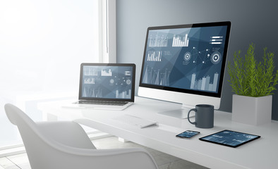grey studio devices with finances graphics