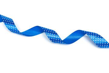 Shiny blue ribbon  isolated on white