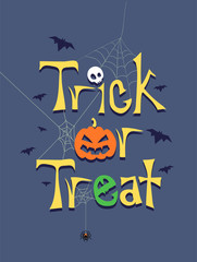 Vector Illustration of Trick or Treat Greeting Poster