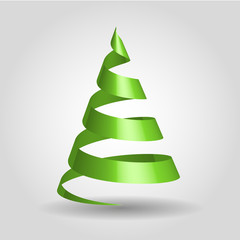 Simple green ribbon in a shape of Christmas tree. Merry Christmas theme. 3D vector illustration with dropped shadow and gradient background.