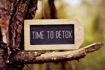 chalkboard with the text time to detox