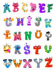 Vector Illustration of Set of Alphabet Monster