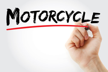 Hand writing Motorcycle with marker, concept background