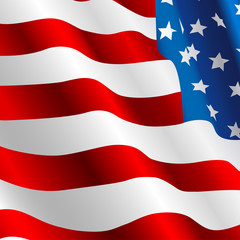 Waving USA flag in realistic style. Vector illustration
