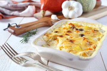 Vegetable gratin and ingredients