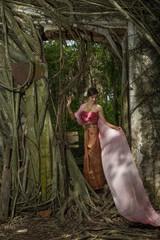 Asian woman wearing dress traditional Thai costume ,beautiful women thai in the past.