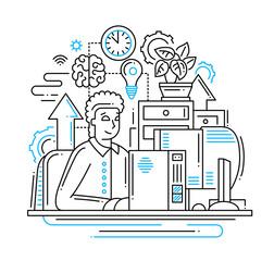 Work online - line design illustration