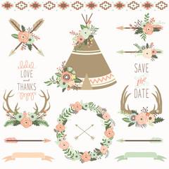Wedding Floral Teepee Tribal Set