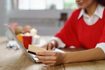 frau kauft im internet und zahlt mit karte