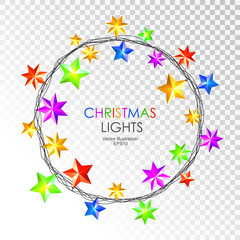 Round colorful christmas stars lights isolated on transparent background. Christmas garland. Vector illustration.